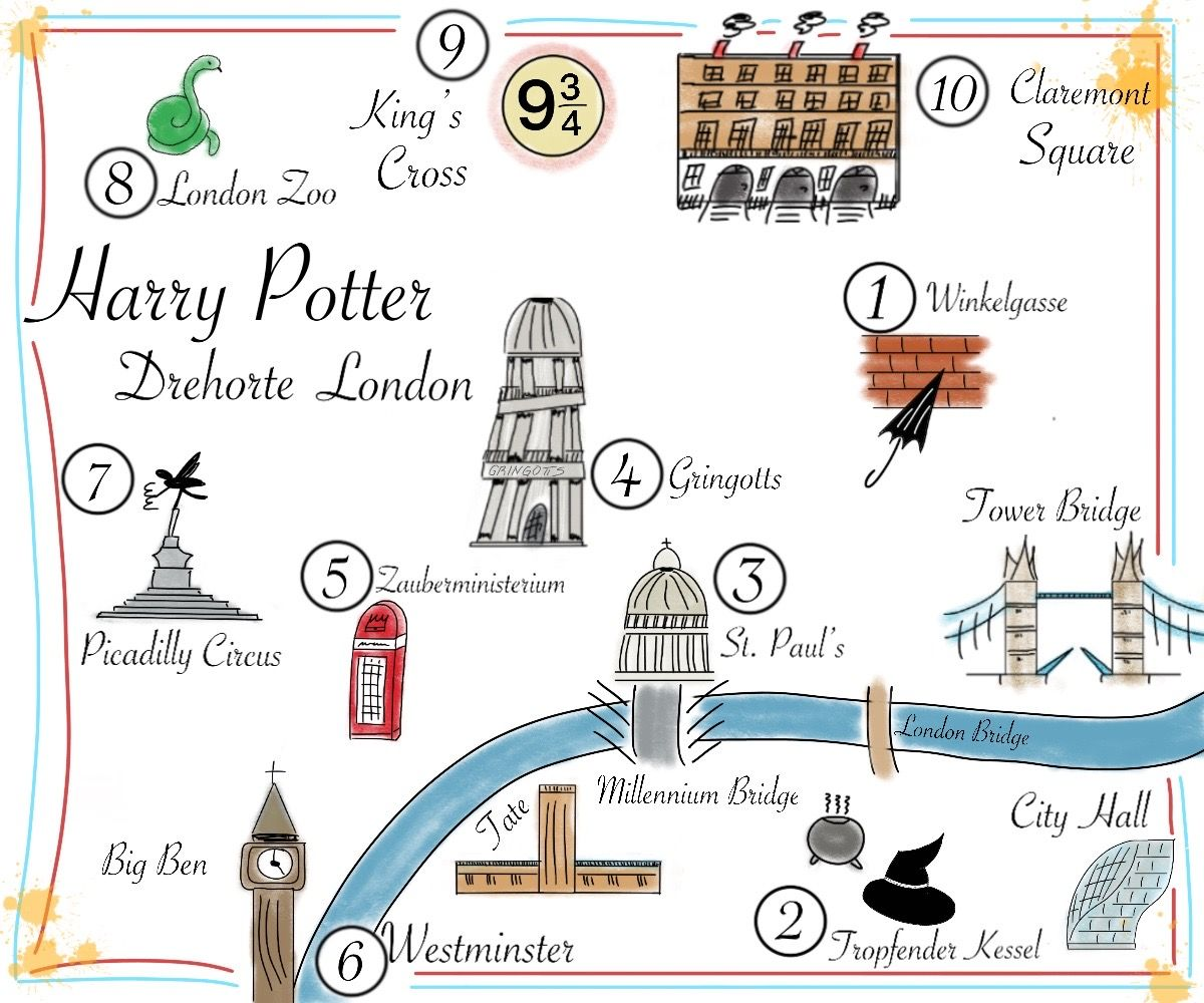 Karte Der Harry Potter Drehorte In London Winkelgasse Harry Potter Film London
