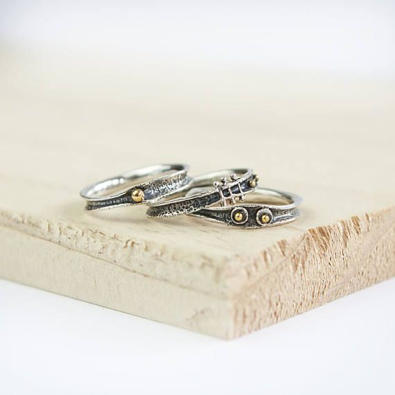 Oxidised Stacking Ring Set Personalized Sterling Silver Organic Ring Set for Men or Women