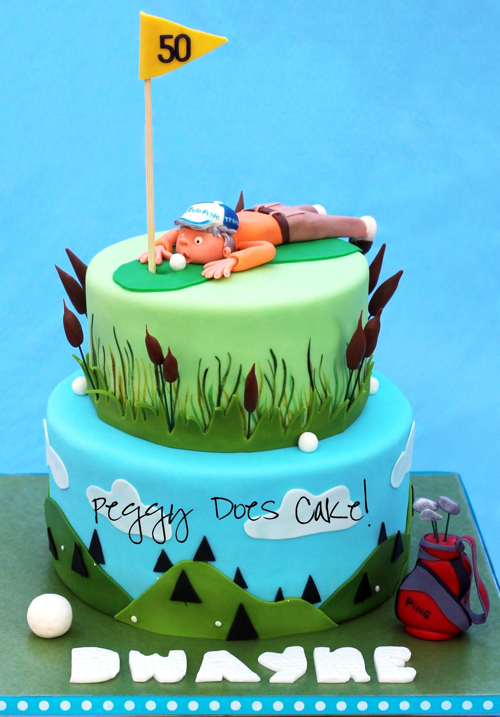 Golf Cake Fondant Covered White Chocolate Ganache With