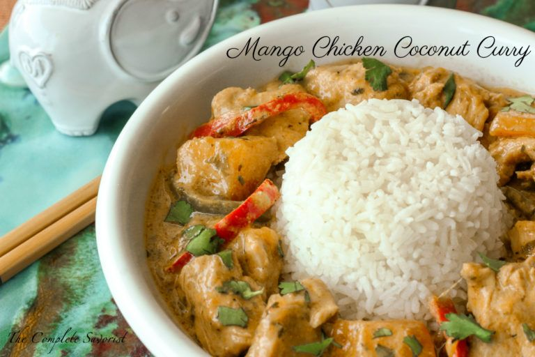 Mango Chicken Coconut Curry A Little Bit Spicy And Creamy And A Whole Lotta Delicious This Thai Inspired C Mango Chicken Curry Recipes Curry Chicken Recipes