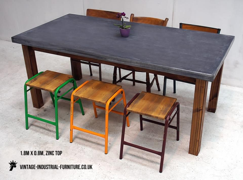 Zinc Top Counter Height Dining Table