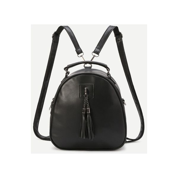 Black Faux Leather Tassel Embellished Mini Dome Backpack ($20) ❤ liked on  Polyvore featuring