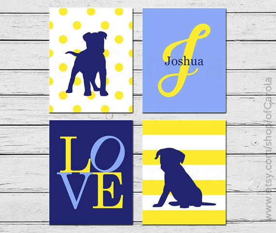 Personalized Children's Art Dog Wall Art Print Set by ofCarola, $36.00