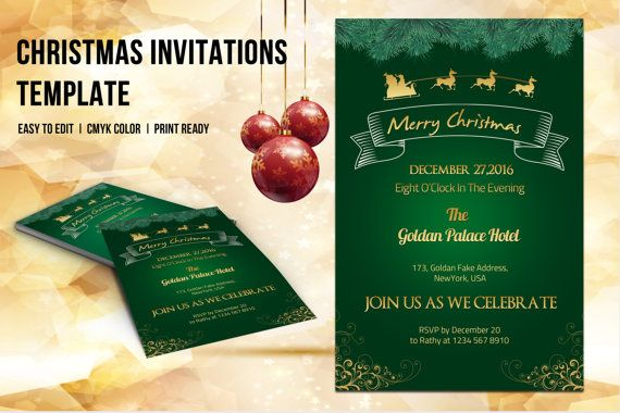 Christmas Party Invitation Flyer Template Christmas  Online Shop