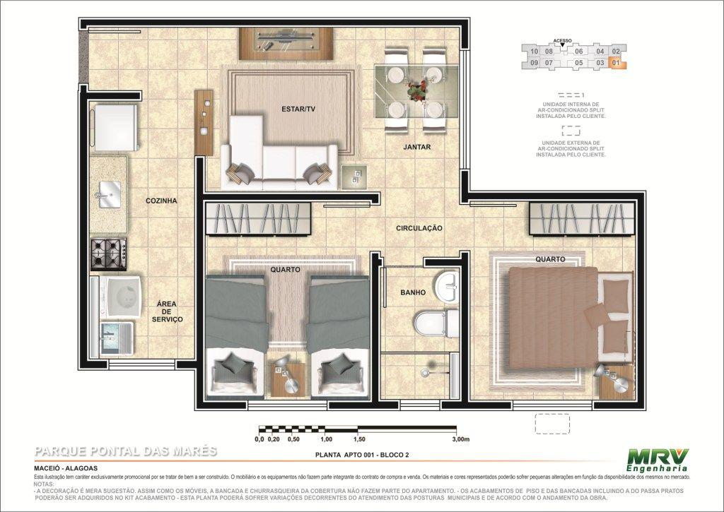 2 Quartos 1ª Opcao Minha Casa Minha Vida Com Imagens Design