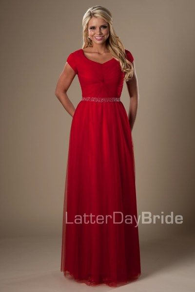 Alyssa | Modest Prom Dress | Mormon Prom Gown | Sleeves | LatterDayBride & Prom | SLC | Utah | Worldwide Shipping | Sweethearts Ball Gown | Senior Dinner Dance Dress | Dress available in Taffy or Red    *Shown in Red #modestprom