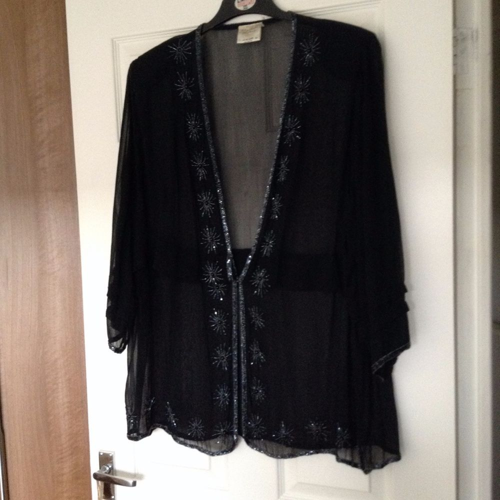 Black UK 24 Beaded Chiffon occasion Evening Formal blouse top ...
