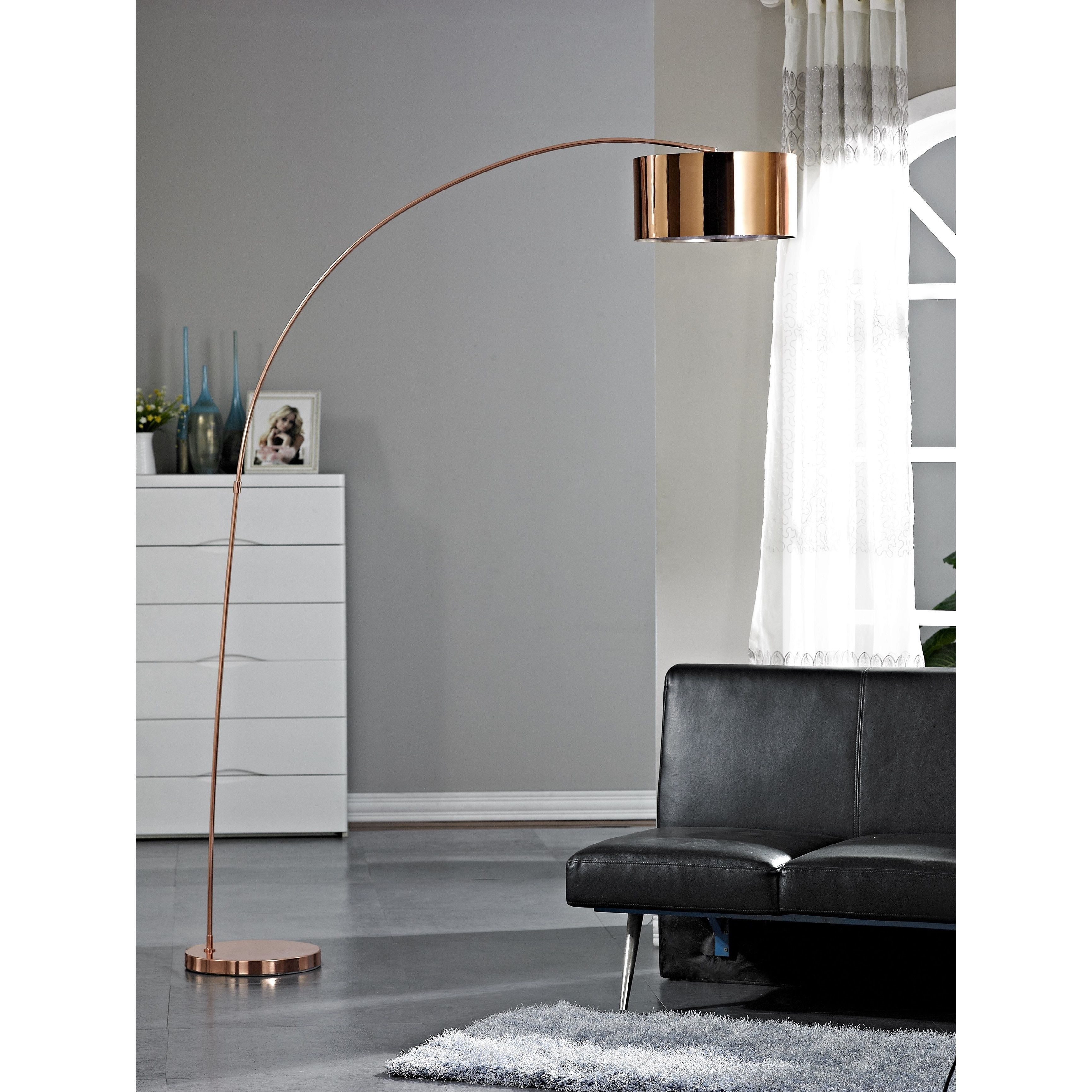 Artiva Usa Adelina 81 Inch Rose Copper Led Arched Floor Lamp Inches Clear Metal
