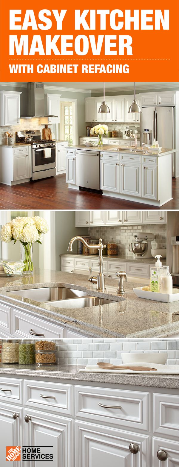 You Don T Need A Total Kitchen Makeover To Make A Big Impact Cabinet Refacing With The Home Depot Can Give Your S Kitchen Remodel Home Kitchens Kitchen Design