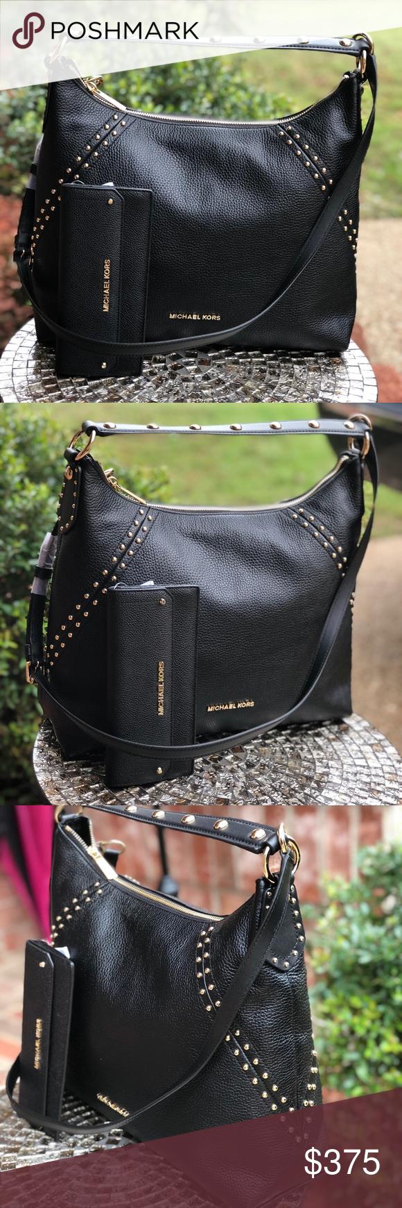 a916345dfe58f4 Michael kors medium studded Aria bag+wallet set STYLE: 35T8GXAL8LColor:  BlackFrom Michael Michael