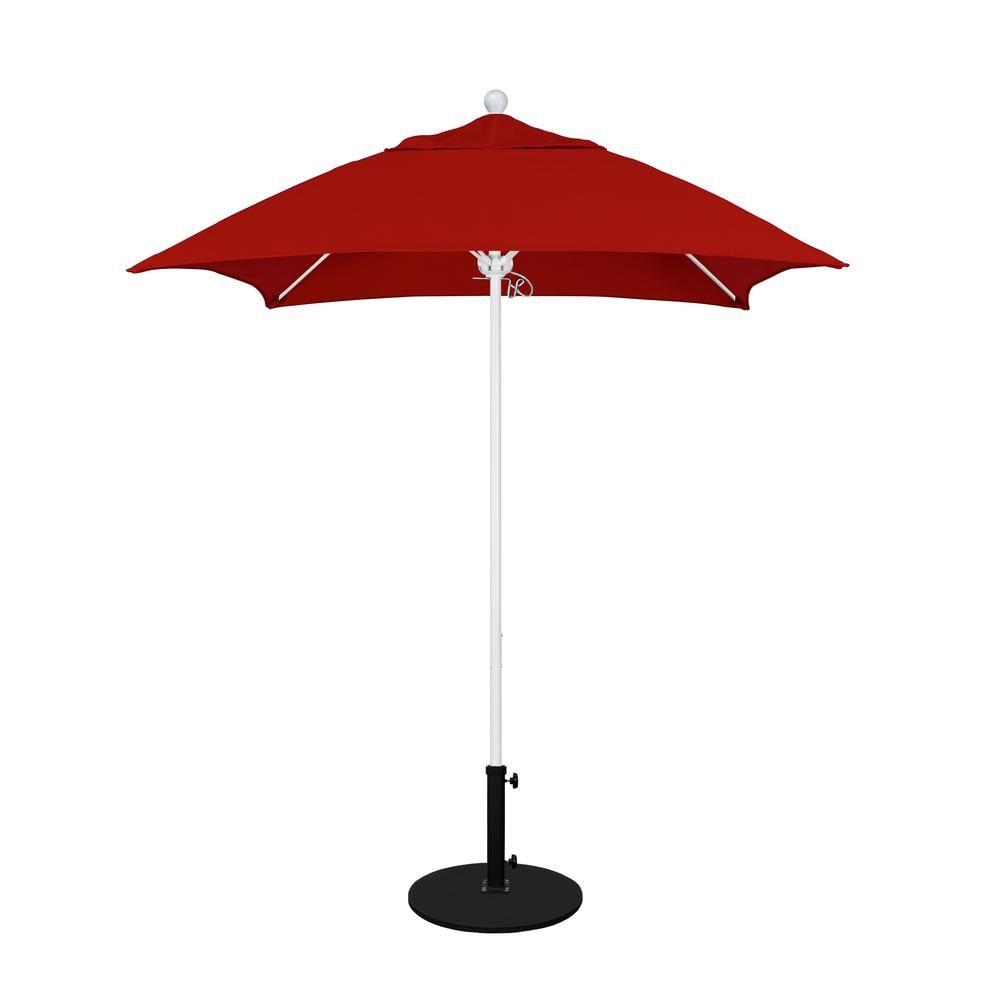 California Umbrella 6 Ft White Aluminum Pole Market Fiberglass