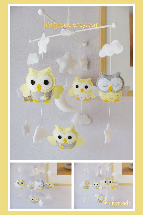 nursery baby mobile yellow owls moon and stars theme. Black Bedroom Furniture Sets. Home Design Ideas