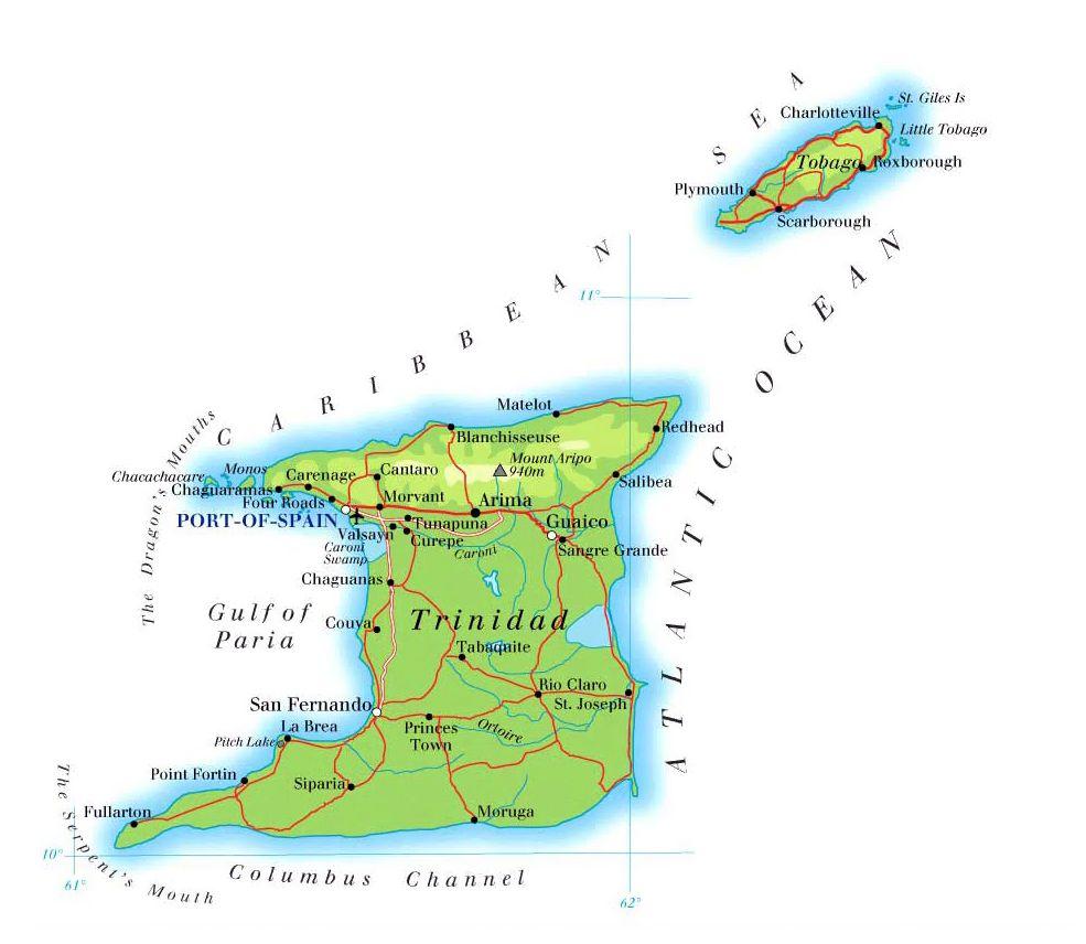 Tobago Trinidad And Tobago Map Trinidad Map Tobago Map