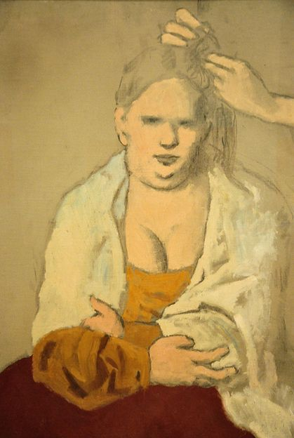 La Coiffure: 1905 by Pablo Picasso - oil and charcoal on canvas (Baltimore Museum of Art, Baltimore, MD)