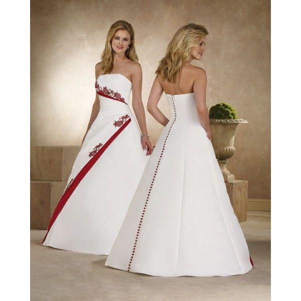 A Line Strapless Applique Satin Red Accent Wedding Dress