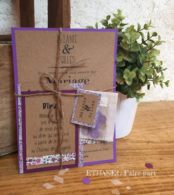 Share marriage Liberty purple, country invitation, kraft and liberty, set of 10