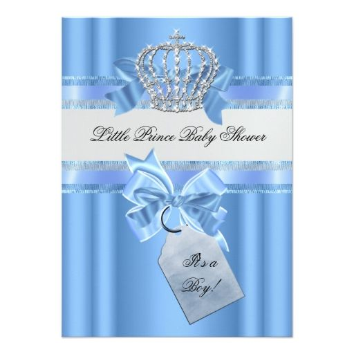 Baby Shower Boy Baby Blue Little Prince Crown Invitations
