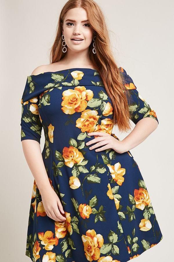 Womans Plussize Mini Dress Off Shoulder Floral Print On Budget 38