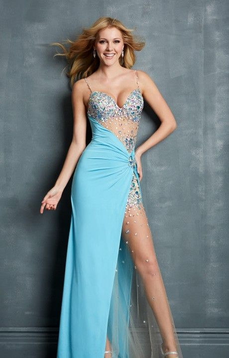 Sexy Sky Blue Rhinestones High Split Prom Dress 2014 [Sexy Sky ...