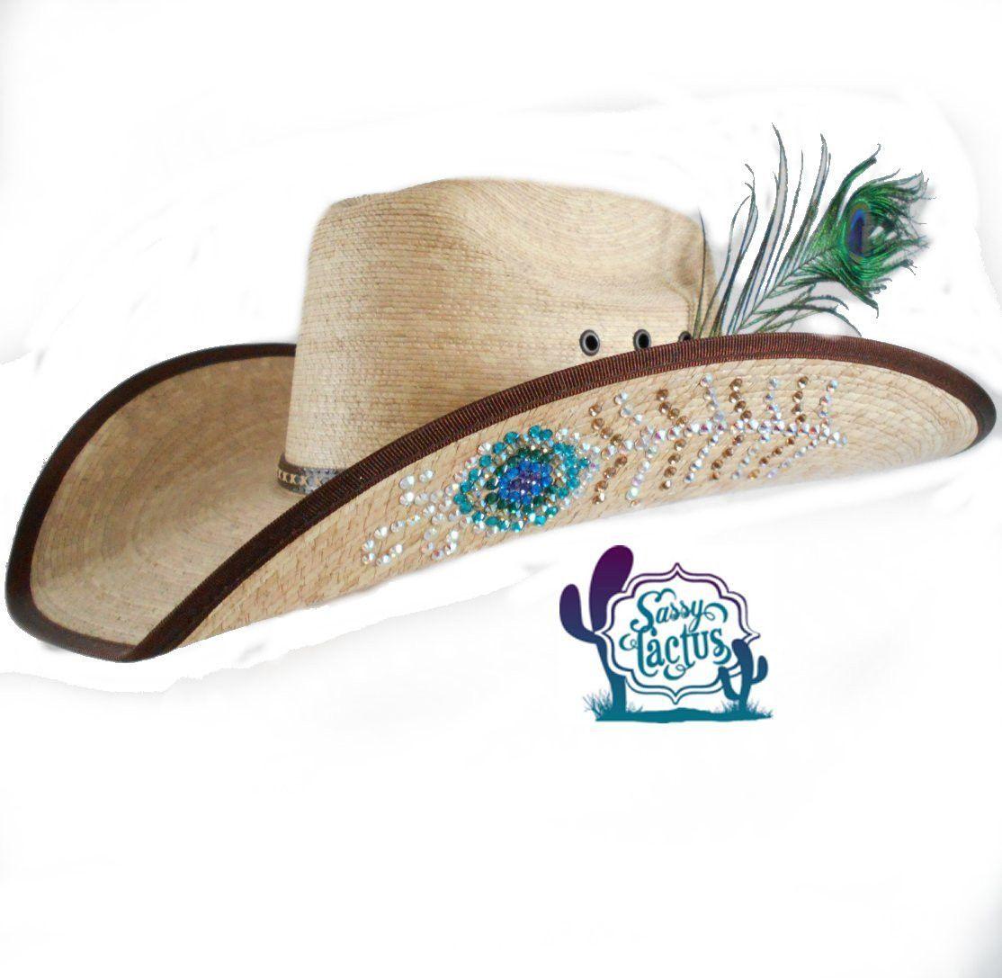 Rhinestone Peacock Feather Straw Cowboy Hat  76a8b0af4f88