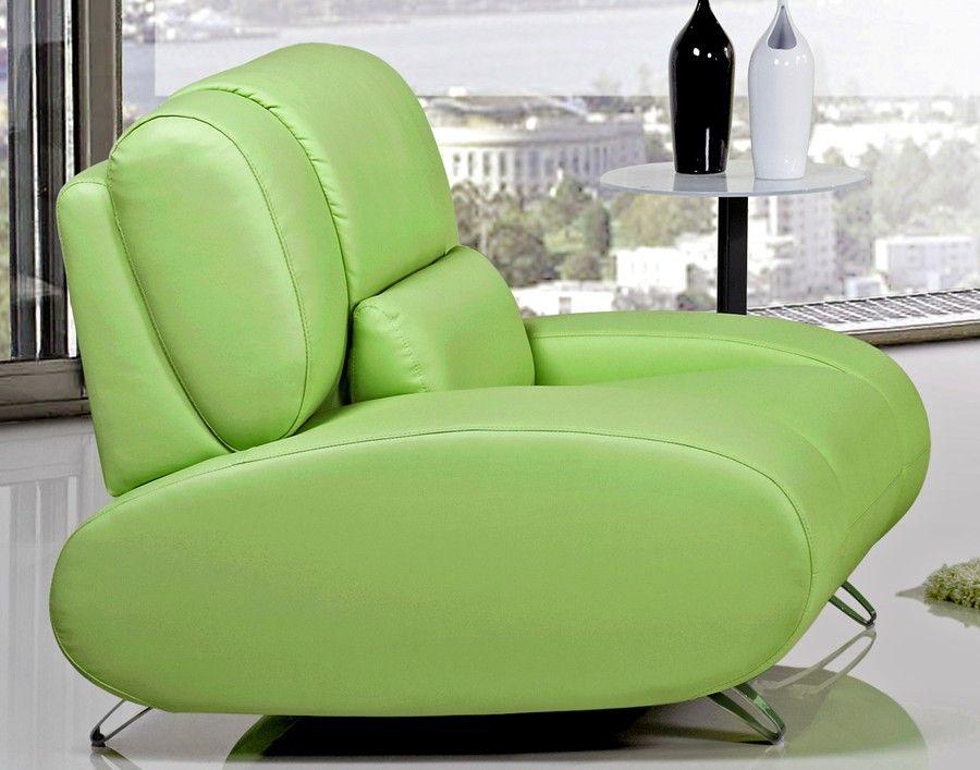 Rita Light Green Leather Chair Modern White Leather Sofa Green