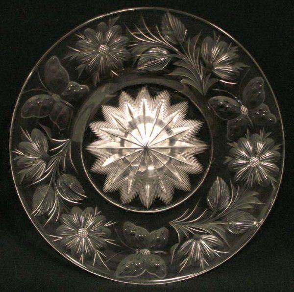 "Tuthill, Butterflies, American brilliant cut glass, 8"", 7-5h."