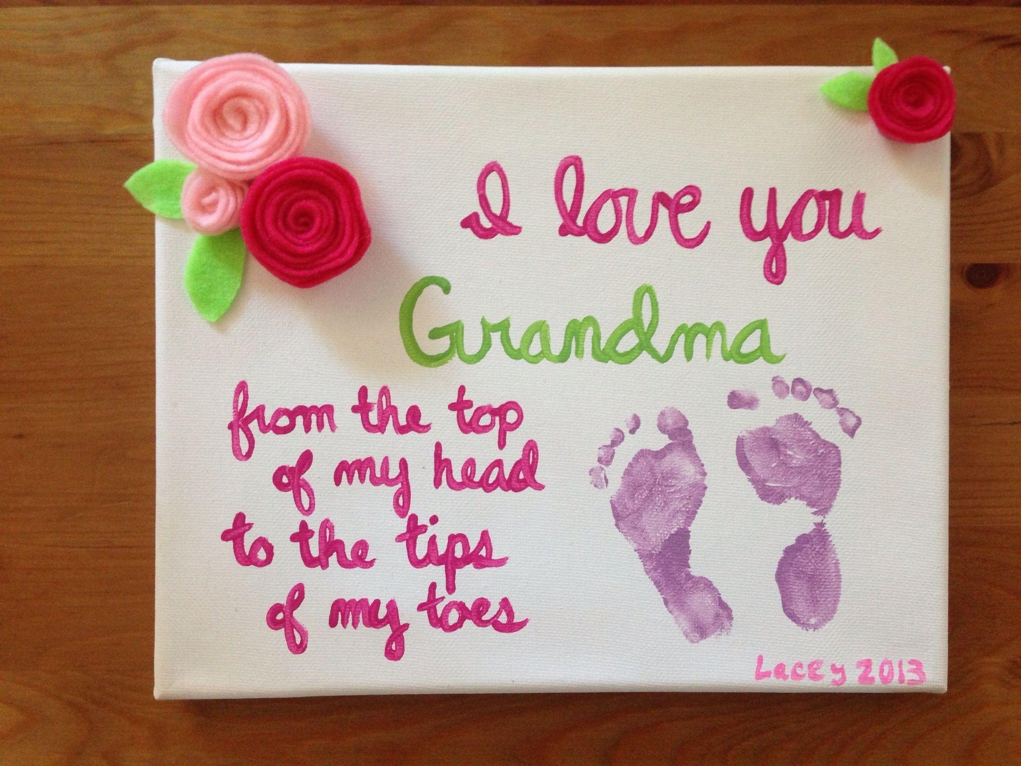 Baby Footprint Gift For Grandma Hand Made Felt Flowers And Acrylic Paint On A Canvas