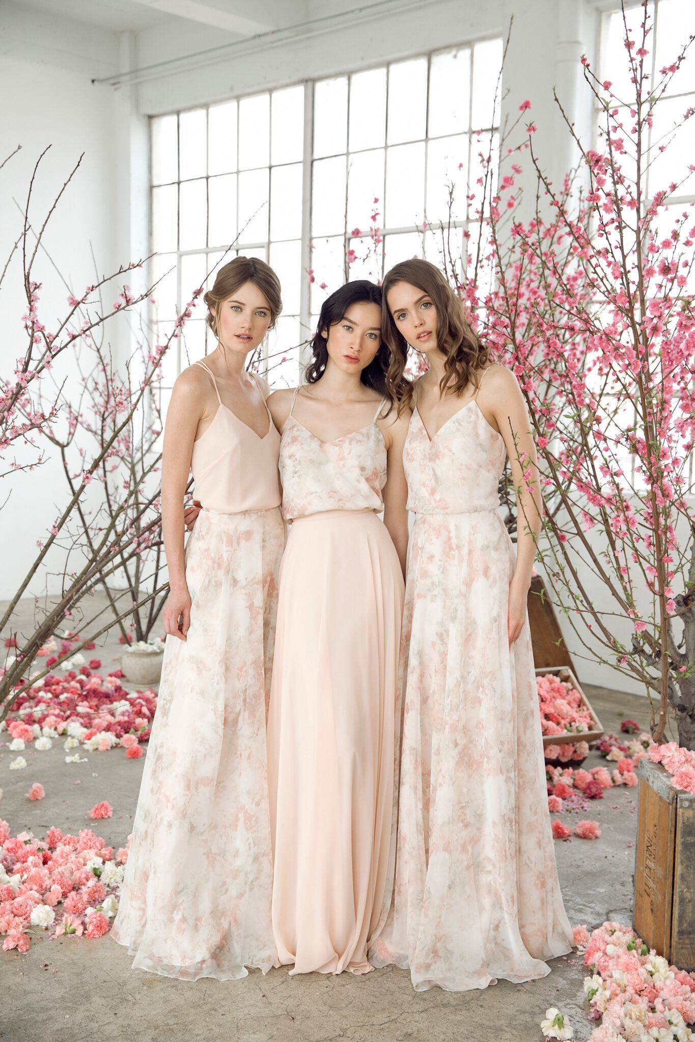 Jenny Yoo Separates And Bridesmaids Romantic Bridal Party Blush Floral And Soli Floral Bridesmaid Dresses Wedding Bridesmaid Dresses Summer Wedding Outfits