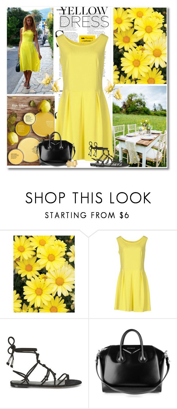 """Yellow Dress"" by barbarapoole ❤ liked on Polyvore featuring VerySimple, Rebecca Minkoff, Givenchy and Isabel Marant"