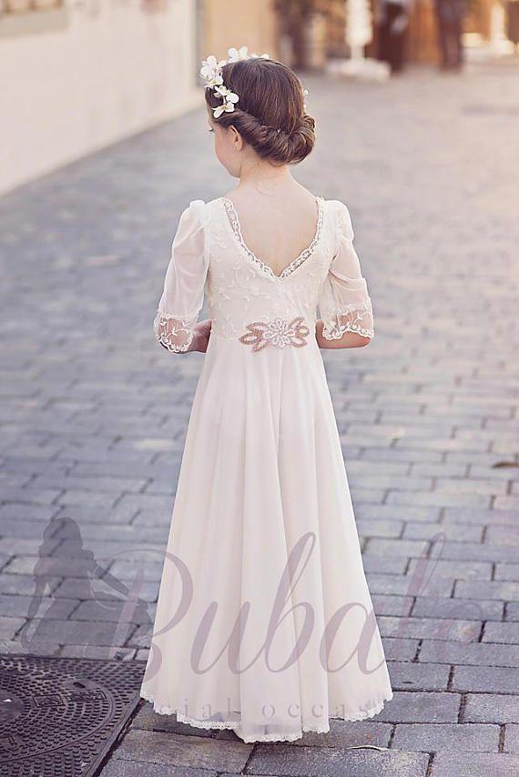 Boho Flower Girl Dress, First Communion Dress, Junior Bridesmaid ...