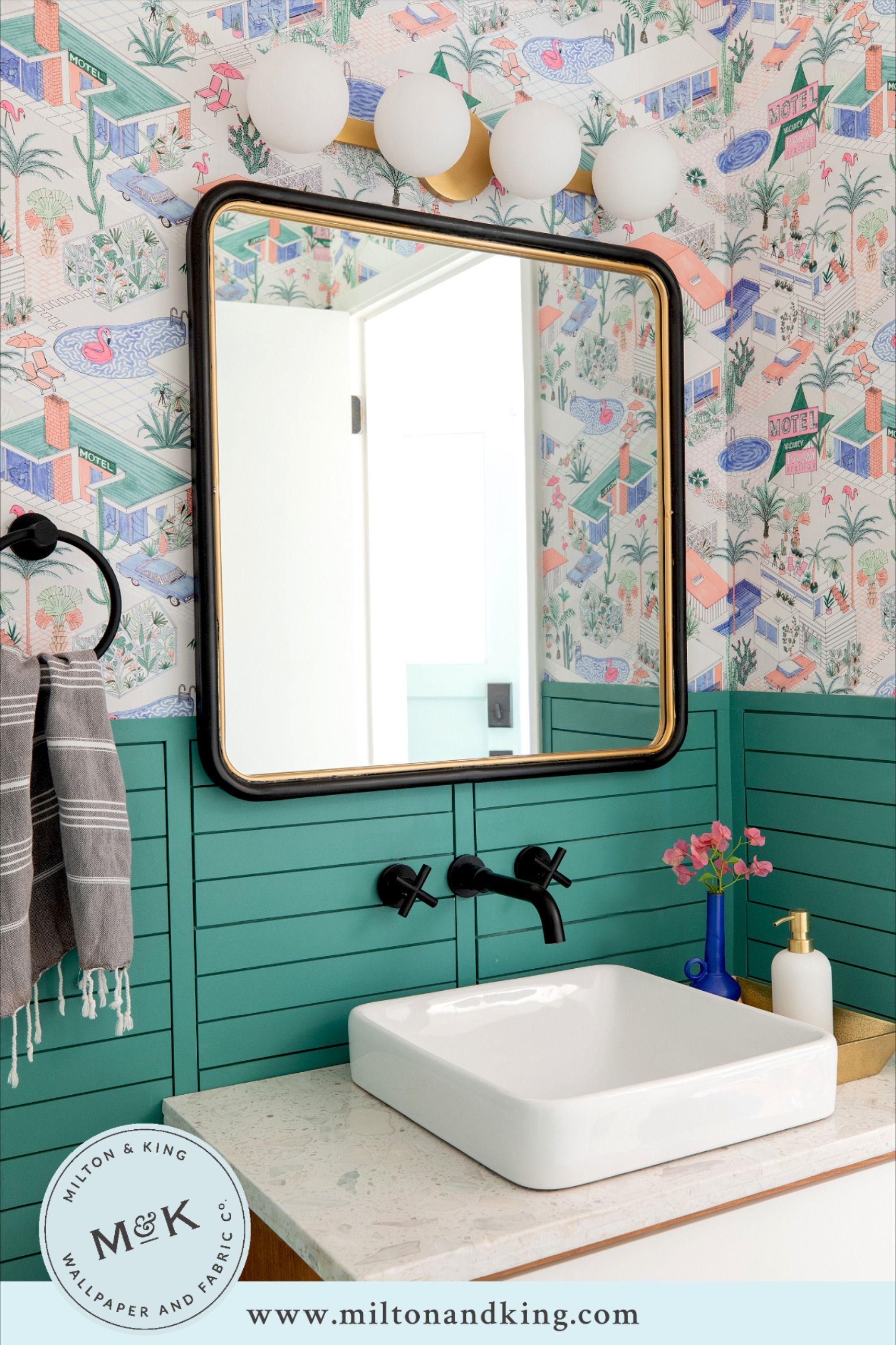 Palm Springs Mid Century Inspired Wallpaper Milton King Bathroom Wallpaper Mid Century Bathroom Bathrooms Remodel