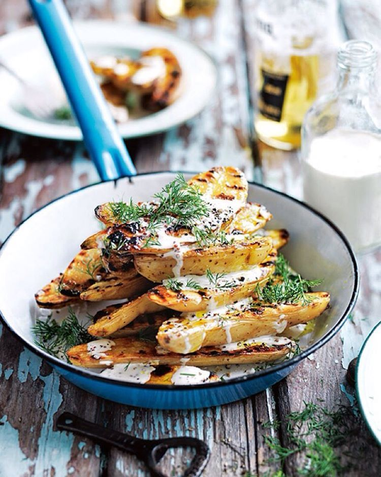"""""""Looking for a lighter side for your summer grills? Try our char-grilled potato salad drizzled with a fresh and creamy mustard dressing! Find the recipe in…"""""""