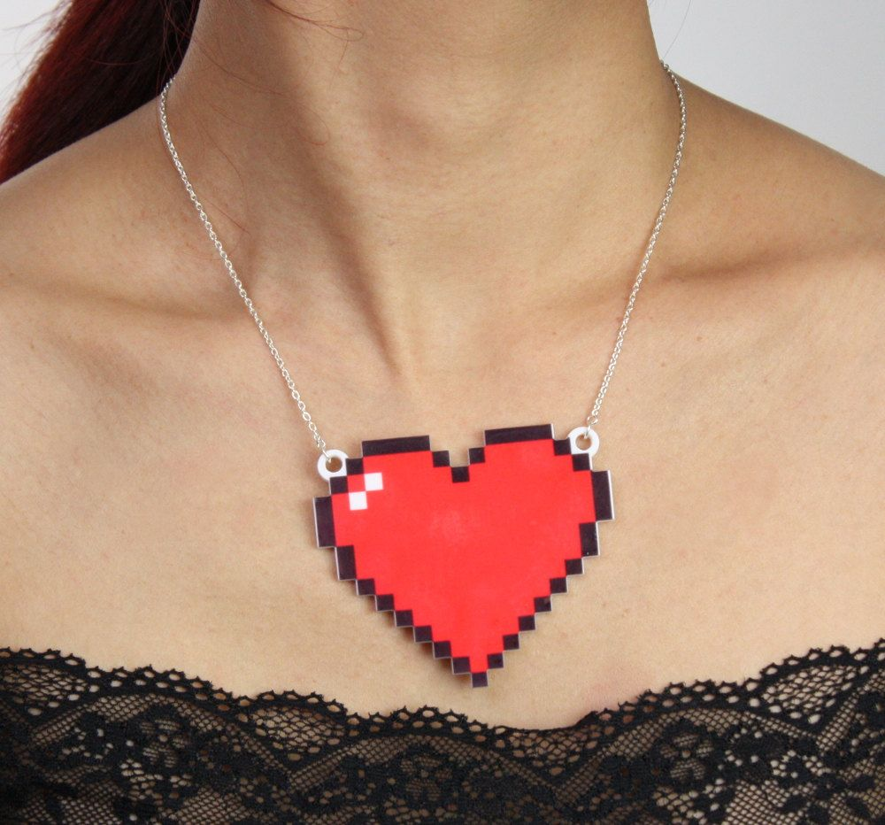 8 Bit Heart Necklace, Silver Plated Chain, Black Friday Etsy Cyber Monday Etsy. £12.00, via Etsy.