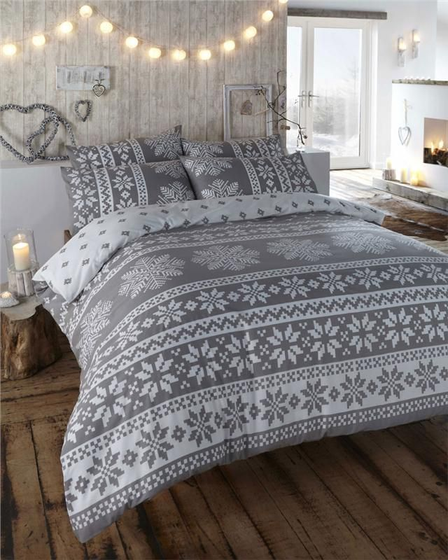 Innsbruck Grey   Flannelette Duvet Cover Set   King Size  Only ships to UK. WINTER ALPINE SNOW FLAKE DESIGN   DUVET COVER BED SETS   QUILT
