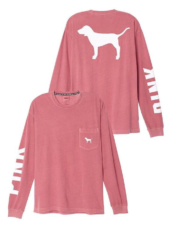 Victoria's Secret PINK Long sleeve Campus Pocket Tee, Soft