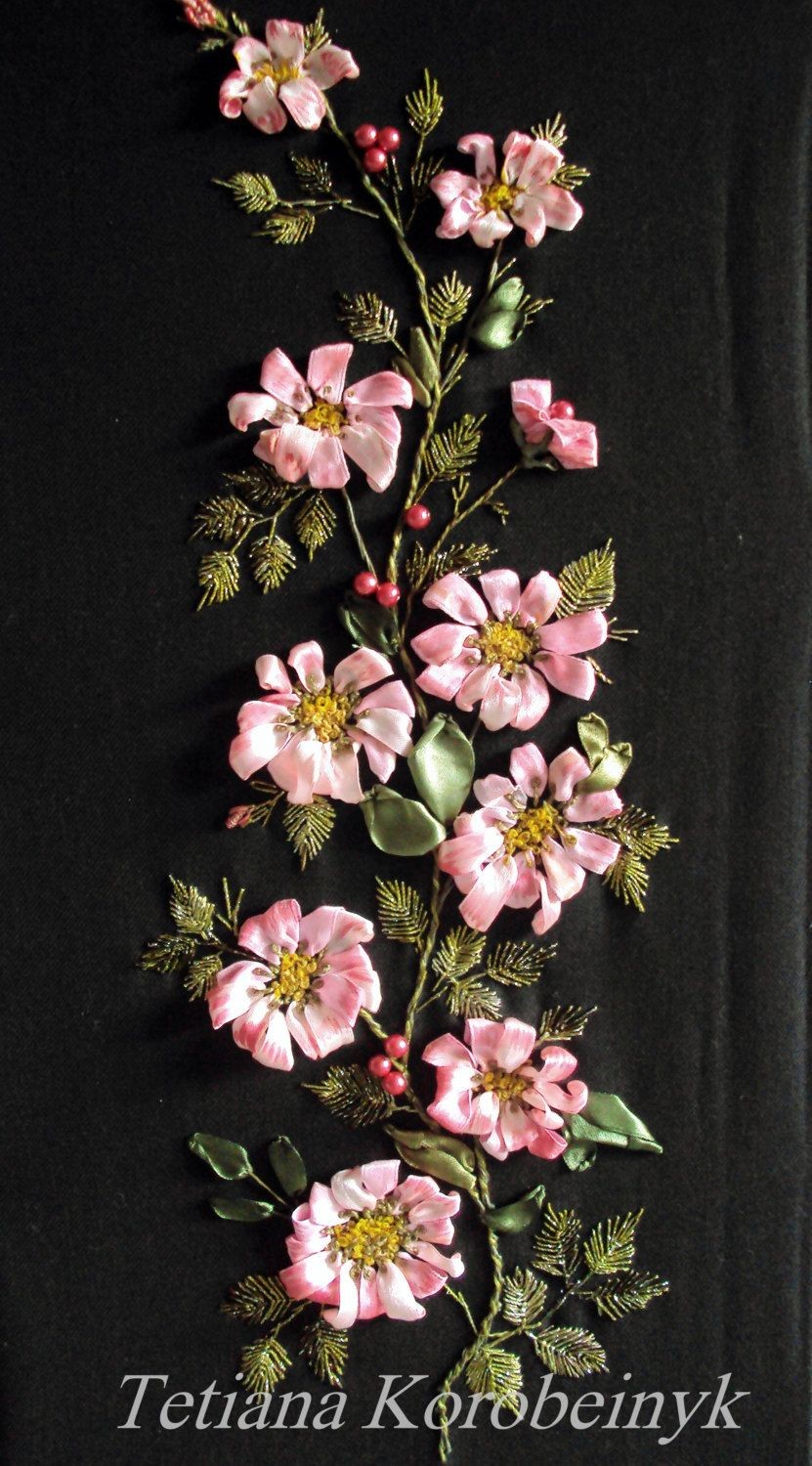 Picture Rosehip on black embroidered by SilkRibbonembroidery