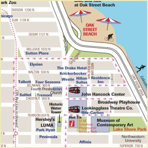 The Magnificent Mile Blocks Of Shopping Restaurants N - Chicago hotels map