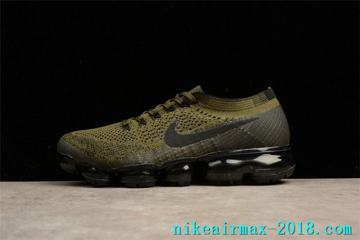 Nike Air VaporMax Flyknit 849558-300 Mens Sneakers Dark Green Black ... 978c1fb31b86