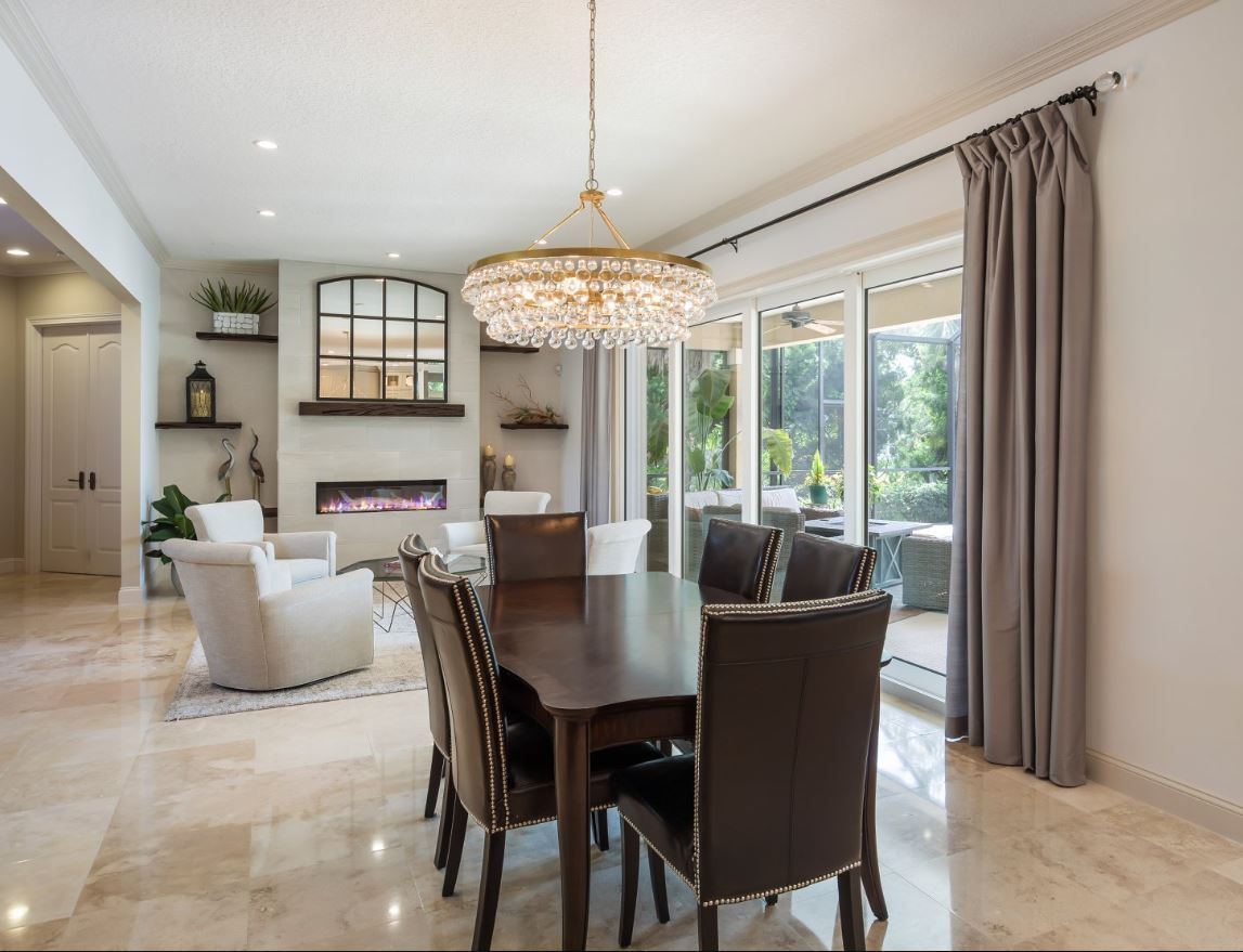 Gold Crystal Round Chandelier Dining Room Dining room