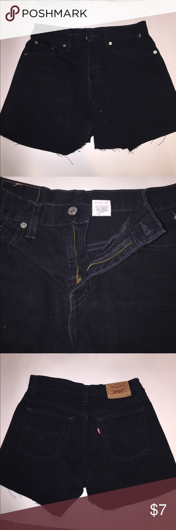Levi's Black Jean Shorts Levi's Black Jean Shorts, originally women's pants- CUT INTO DIY SHORTS, size 4, never worn Levi's Shorts Jean Shorts