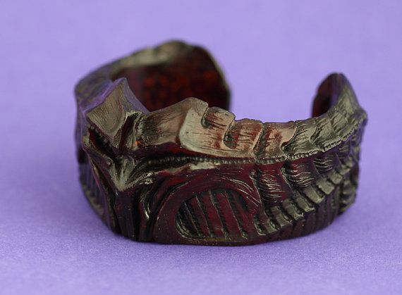 Gothic demon cuff resin bangle translucent red by VoodooDelicious