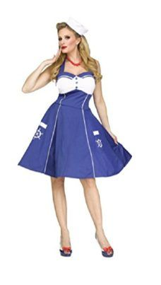 Fun World Womens Sweet Sailin Sexy Retro Sailor Girl Adult Costume M/L 10-  sc 1 st  Pinterest : vintage sailor costume  - Germanpascual.Com