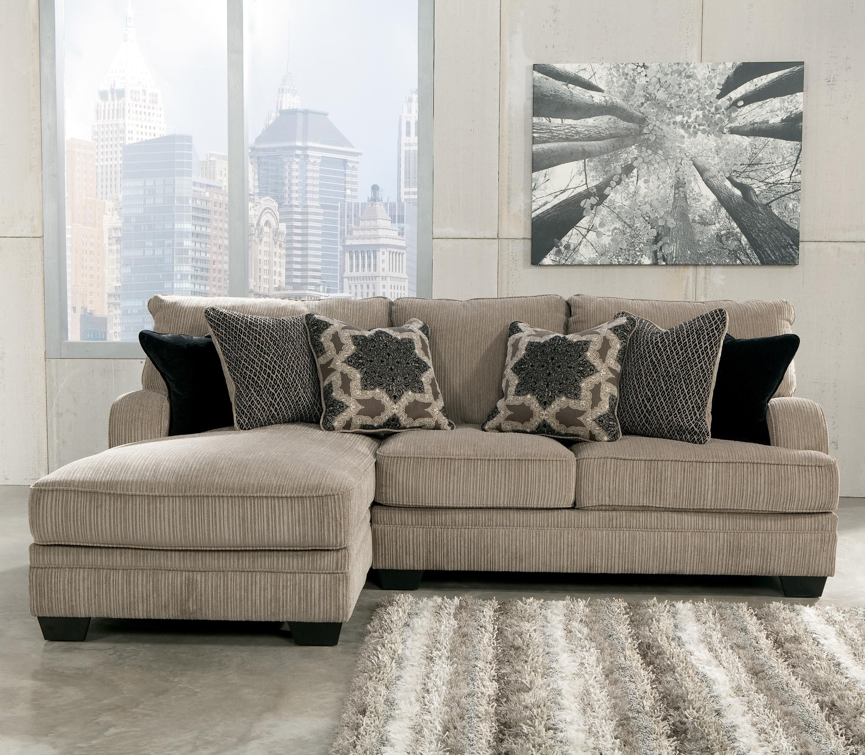 Katisha platinum 2 piece sectional with left chaise by for Ashley chaise lounge sofa