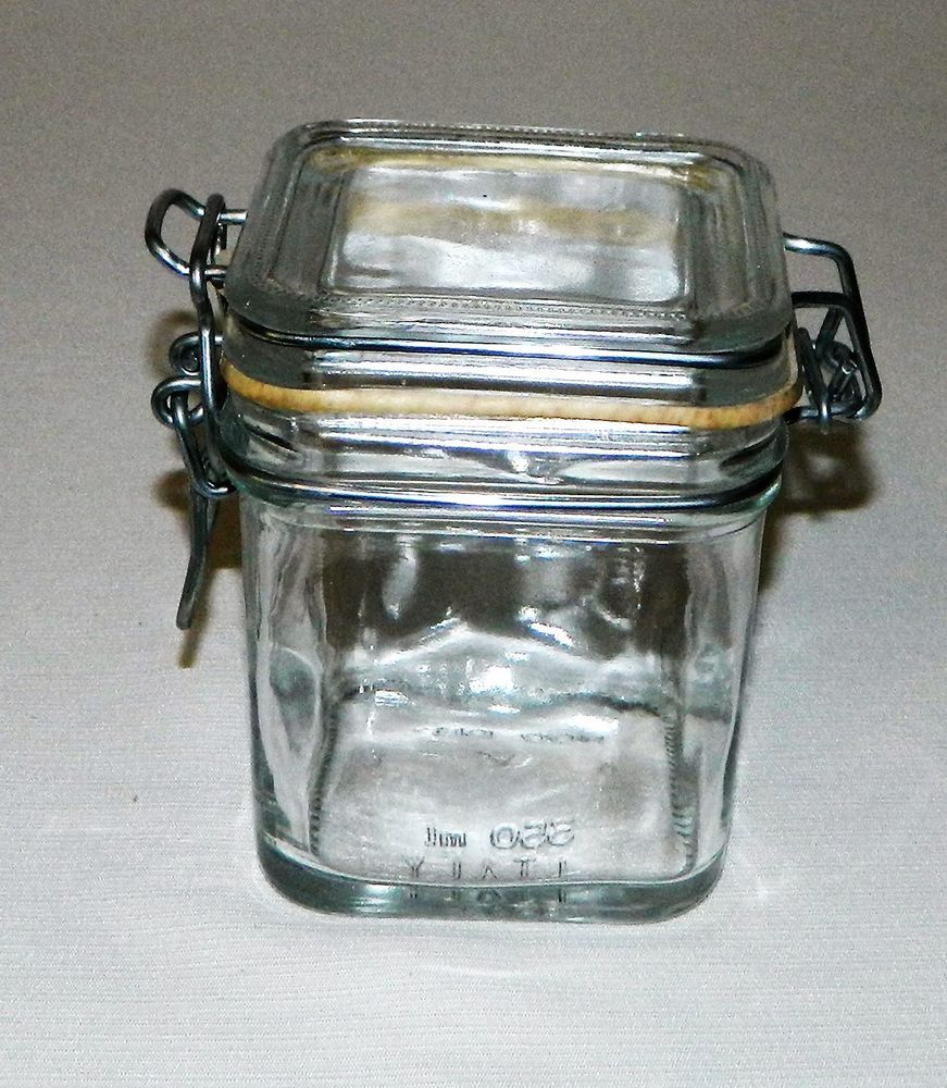 Vetreria Etrusca Clear Glass Small Square Apothecary Storage Jar ...
