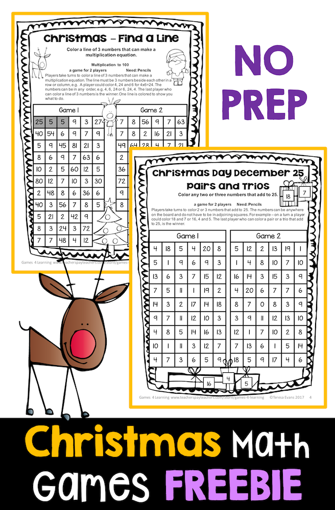 Christmas Free: Christmas Math Games No Prep: Christmas Math ...