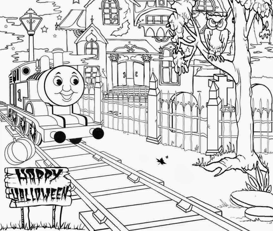 halloween full page thomas the train coloring pages id 19457
