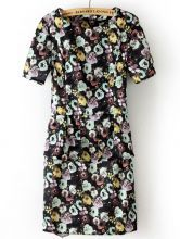 #SheInside Black Short Sleeve Back Zipper Floral Dress $31.61