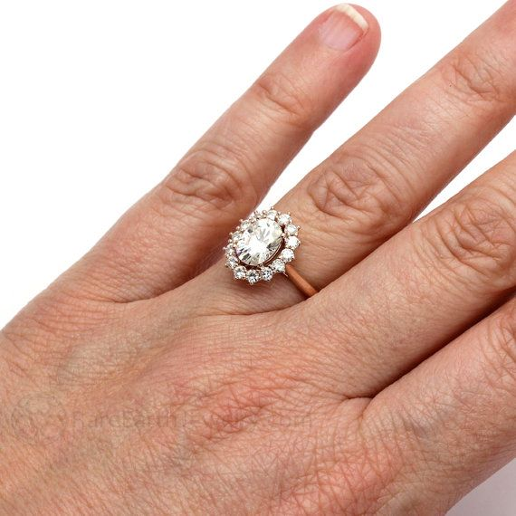 Moissanite Engagement Ring Oval Cluster Halo Forever Brilliant Moissanite  Ring Conflict Free In 14K Or 18K Gold. Right Hand ...