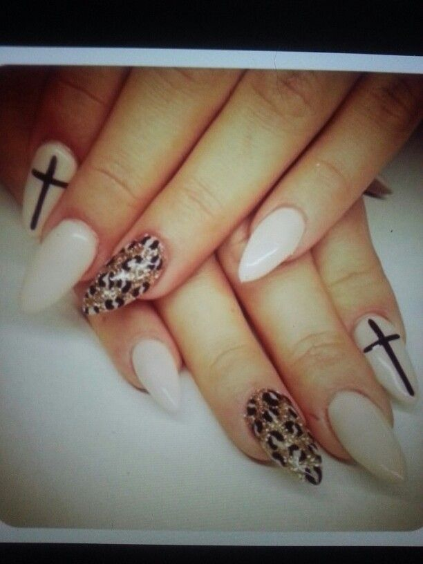 Soft white nails with a cross and leopard nail art design - Soft White Nails With A Cross And Leopard Nail Art Design My Style