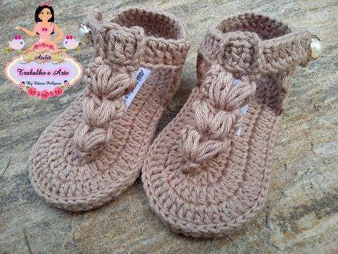 Sandálinha MALU de Crochê - Tamanho 09 cm - Crochet Baby Yara ...